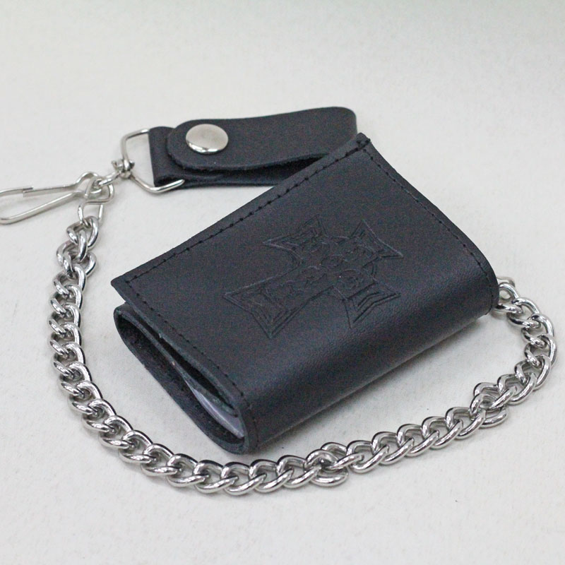 dtst trifold leather chain wallet