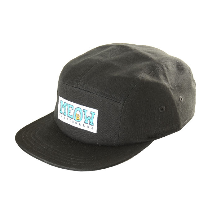 meow logo 5panel hat black