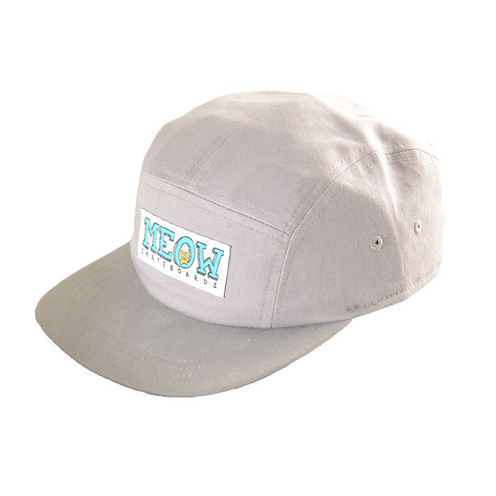 meow logo 5panel hat grey