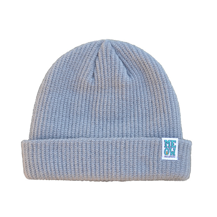 meow stacked logo cuffed beanie grey