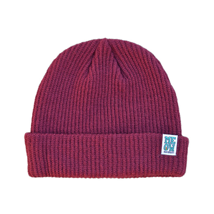 meow stacked logo cuffed beanie maroon
