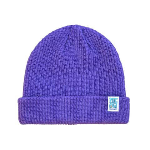 meow stacked logo cuffed beanie purple