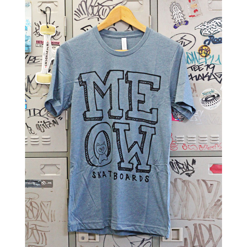 meow stack logo tee heather slate
