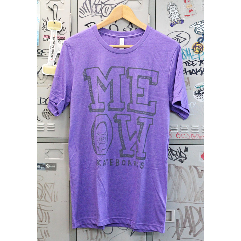 meow stack logo tee heather puple