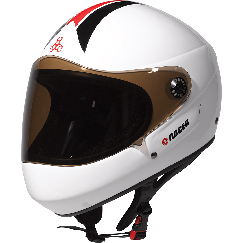 triple eight racer helmet white glossy